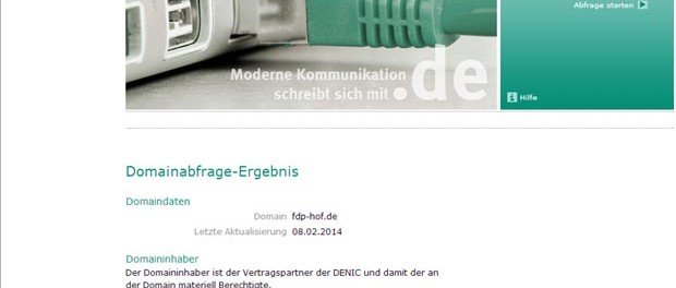 Screenshot: Denic-Eintrag für fdp-hof.de